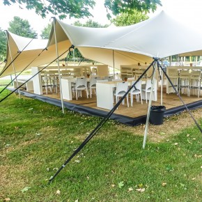 Double coated stretch tents