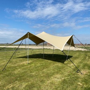 Easy-up stretch tents