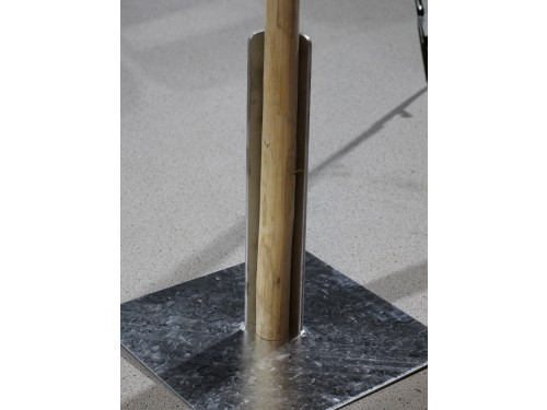 Galvanised steel base for wooden pole stretch tent