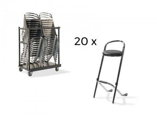 Set 20 bar stools chrome with trolley