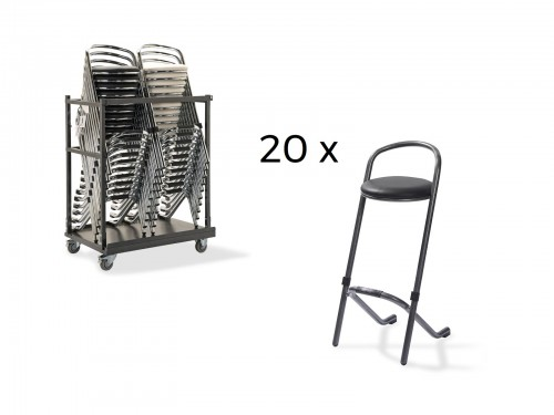 Set 20 bar stools hammerite with trolley