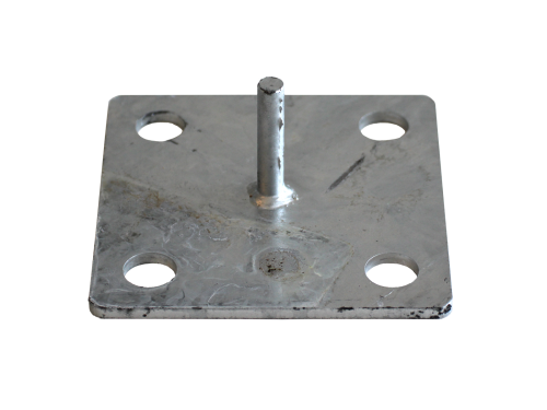 Galvanised footplate with pin for wooden pole stretch tent