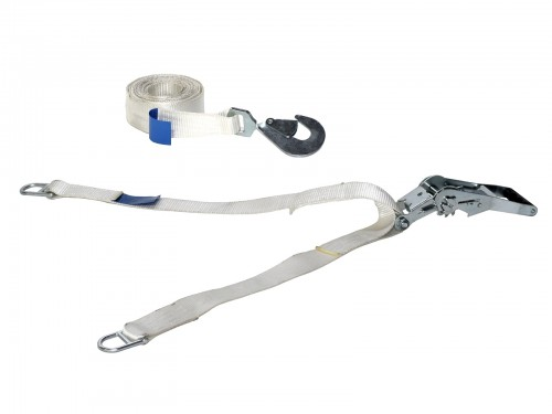 Tension strap with ratchet - Double anchoring (Y-form) - 450 cm - White