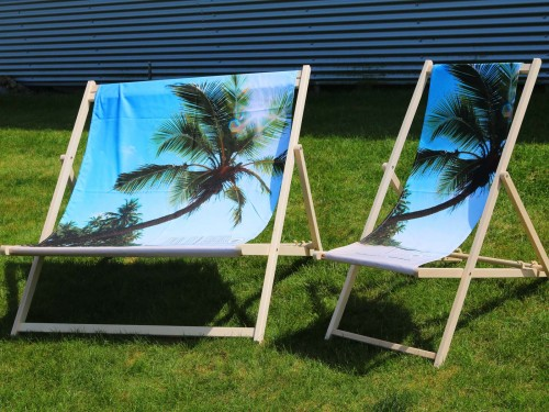 Duo deck chair with changeable printed cloth