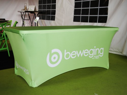 Stretch cover printed for folding buffet table - 2 sides closed