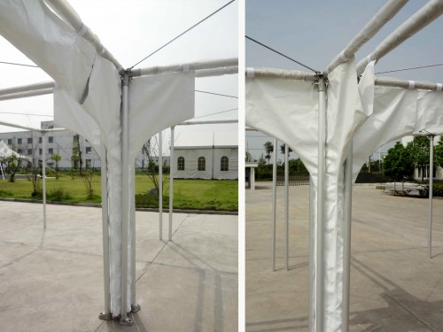 Vertical rain gutter for four pagoda tents